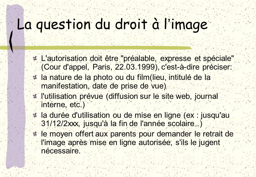 La question du droit à l'image