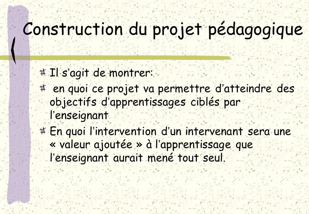 Construction du projet pédagogique