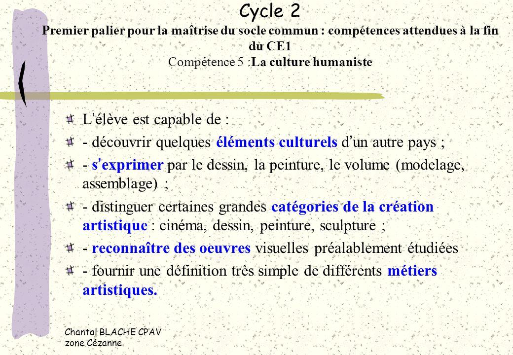 Cycle 2 Premier palier pour la maîtrise du socle commun : compétences attendues à la fin du CE1 Compétence 5 :La culture humaniste