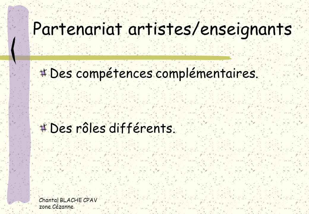 Partenariat artistes/enseignants