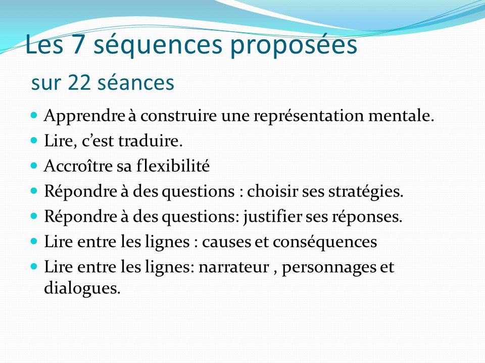 Les 7 séquences proposées sur 22 séances
