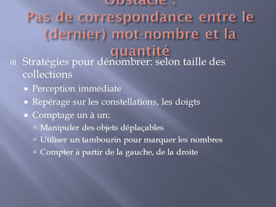 Obstacle : Pas de correspondance entre le (dernier) mot-nombre et la quantité