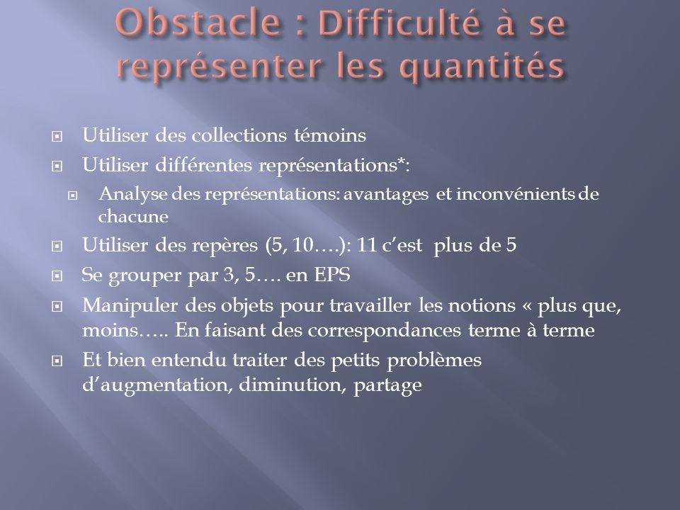 Obstacle : Difficulté à se représenter les quantités