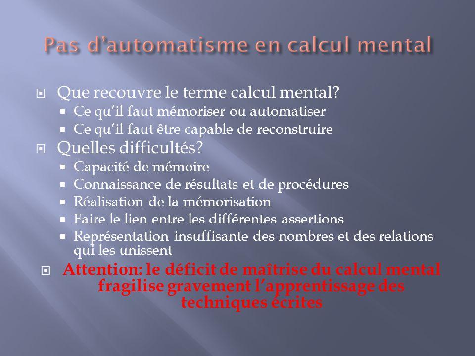 Pas d'automatisme en calcul mental