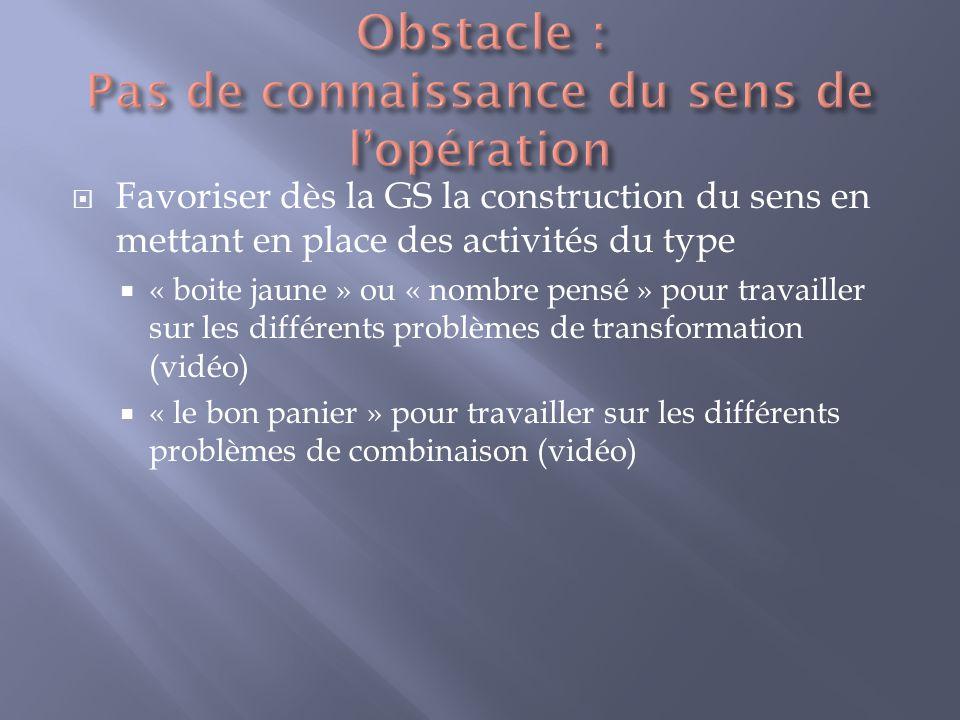 Obstacle : Pas de connaissance du sens de l'opération