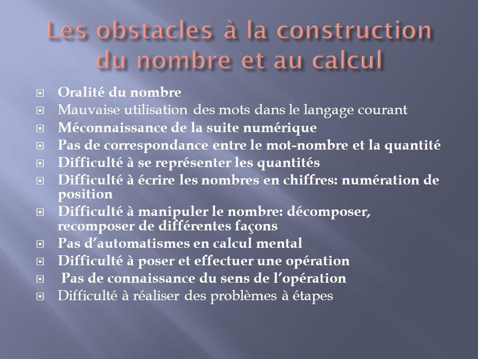 Les obstacles à la construction du nombre et au calcul