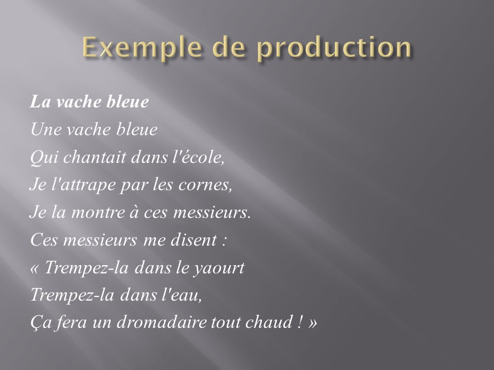 Exemple de production
