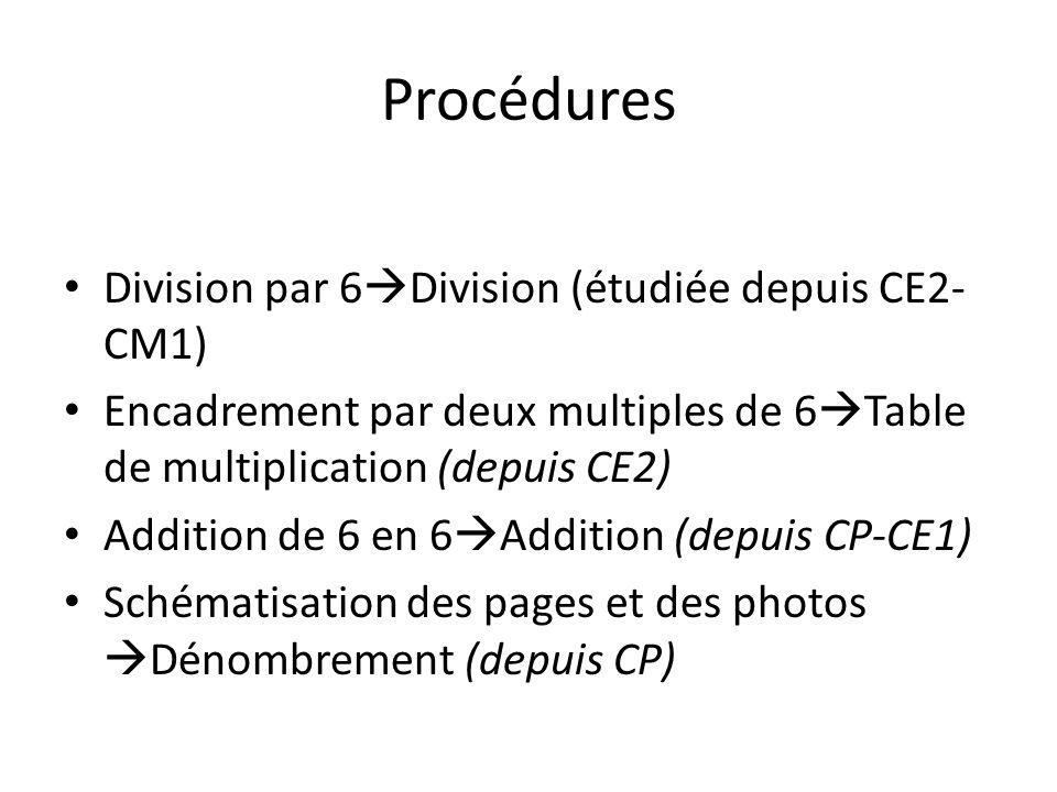 Procédures Division par 6Division (étudiée depuis CE2-CM1)