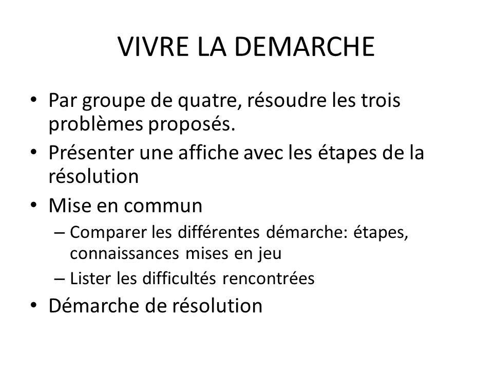 VIVRE LA DEMARCHE Par groupe de quatre, résoudre les trois problèmes proposés. Présenter une affiche avec les étapes de la résolution.