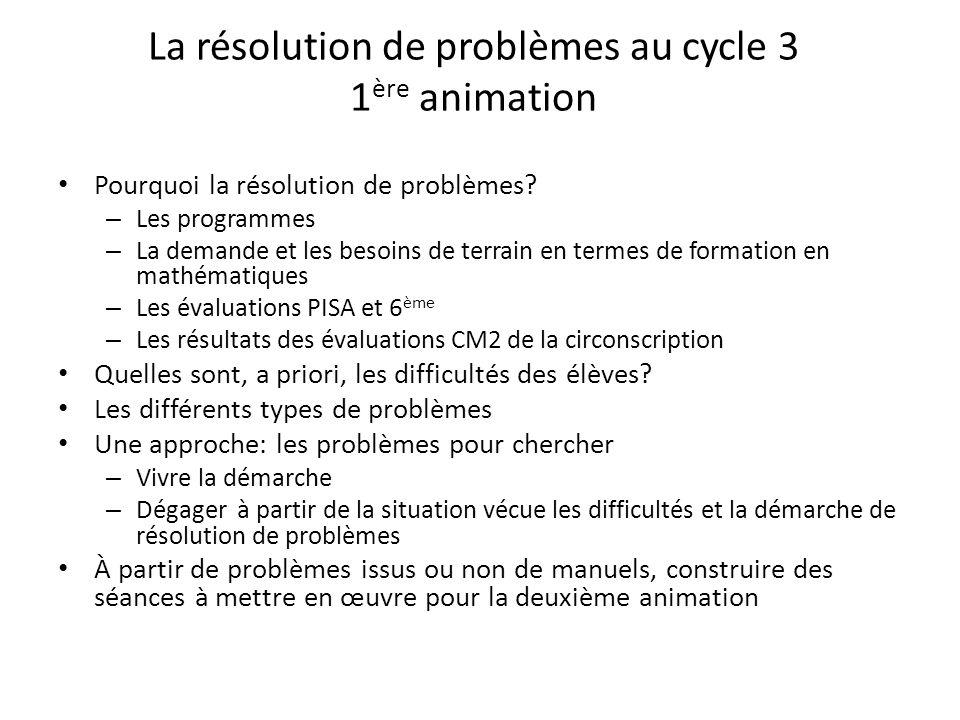La résolution de problèmes au cycle 3 1ère animation