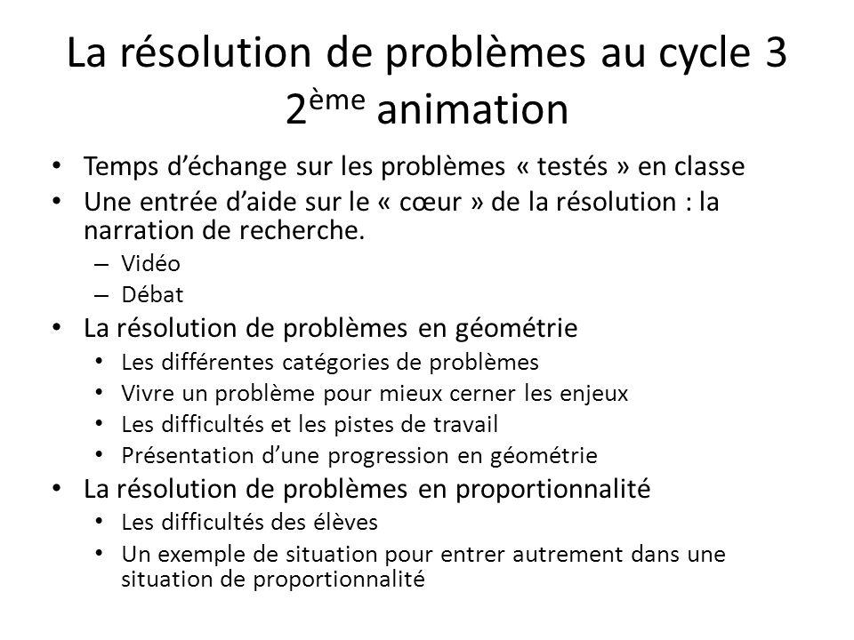 La résolution de problèmes au cycle 3 2ème animation