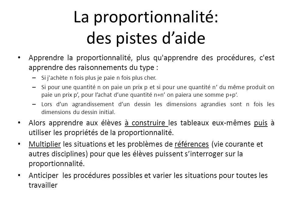 La proportionnalité: des pistes d'aide