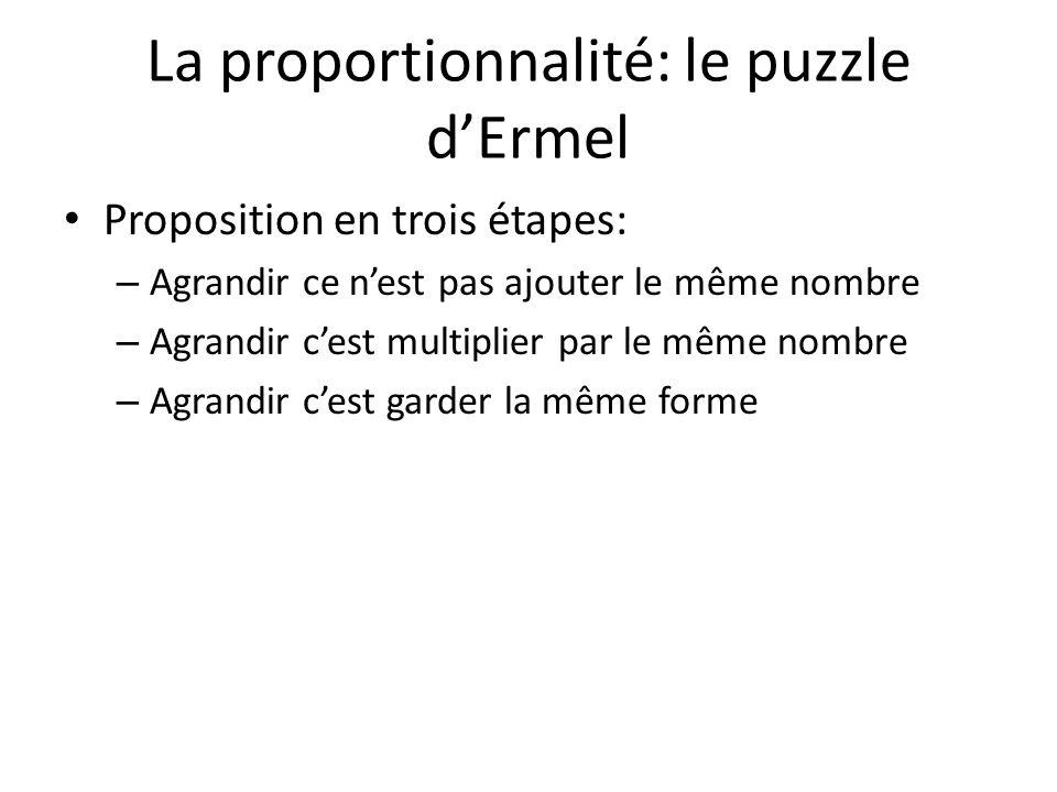 La proportionnalité: le puzzle d'Ermel