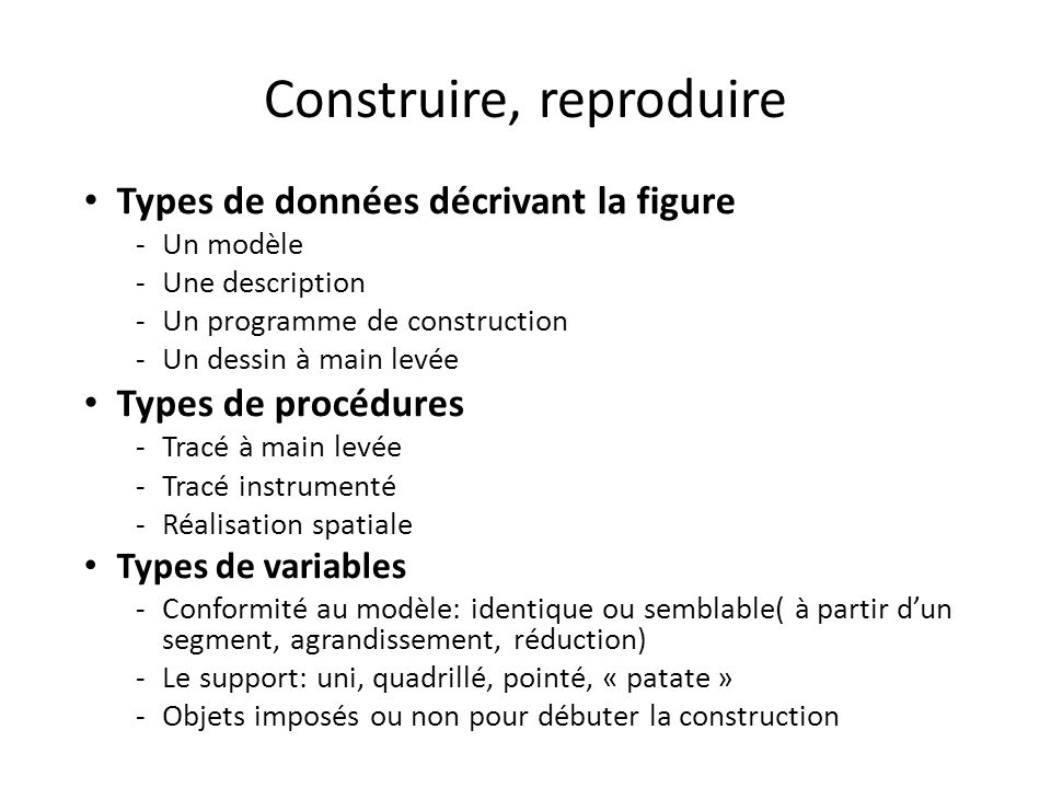Construire, reproduire