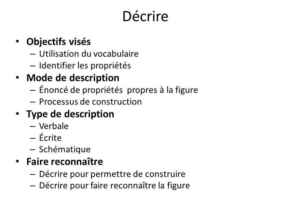 Décrire Objectifs visés Mode de description Type de description