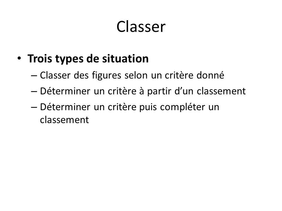 Classer Trois types de situation