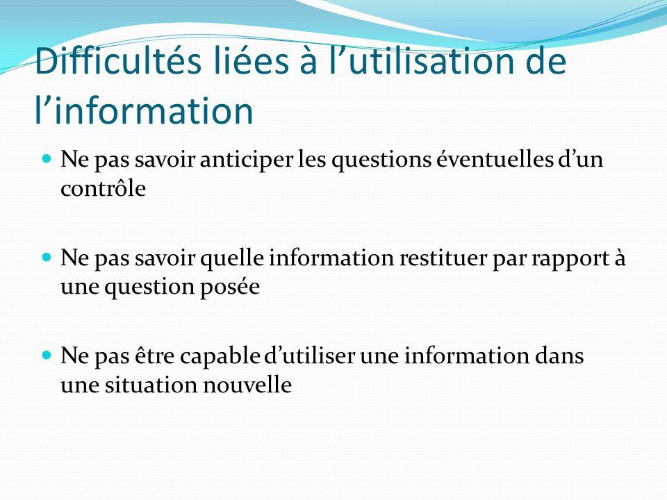 Difficultés liées à l'utilisation de l'information
