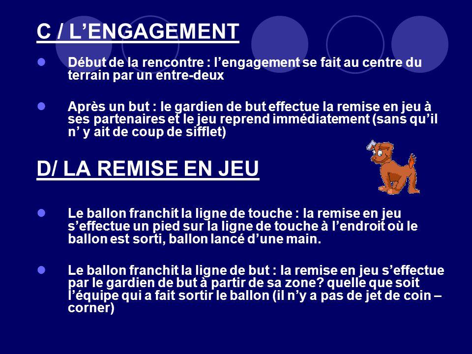 C / L'ENGAGEMENT D/ LA REMISE EN JEU