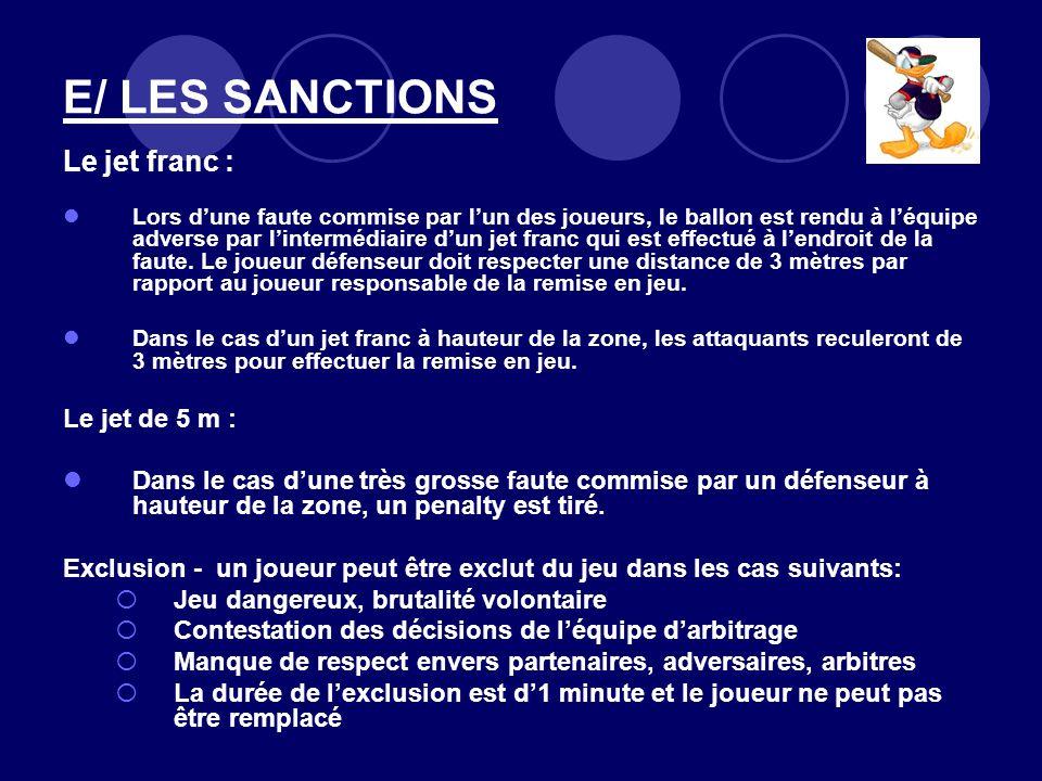E/ LES SANCTIONS Le jet franc : Le jet de 5 m :