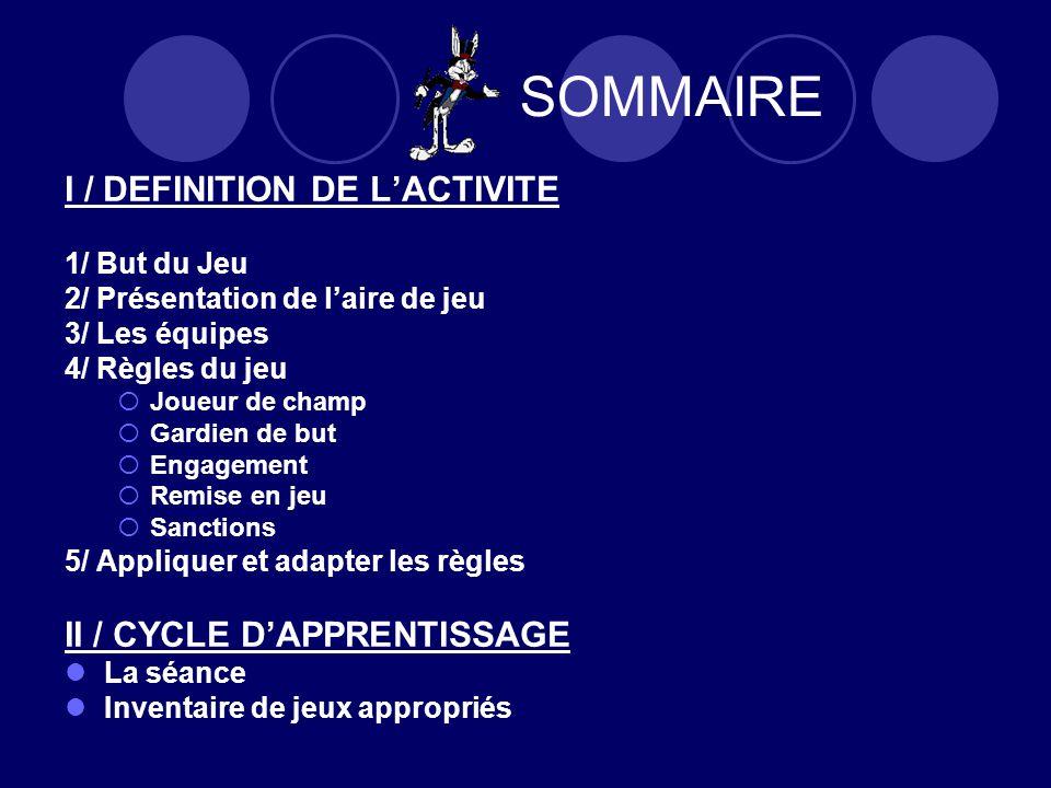 SOMMAIRE I / DEFINITION DE L'ACTIVITE II / CYCLE D'APPRENTISSAGE