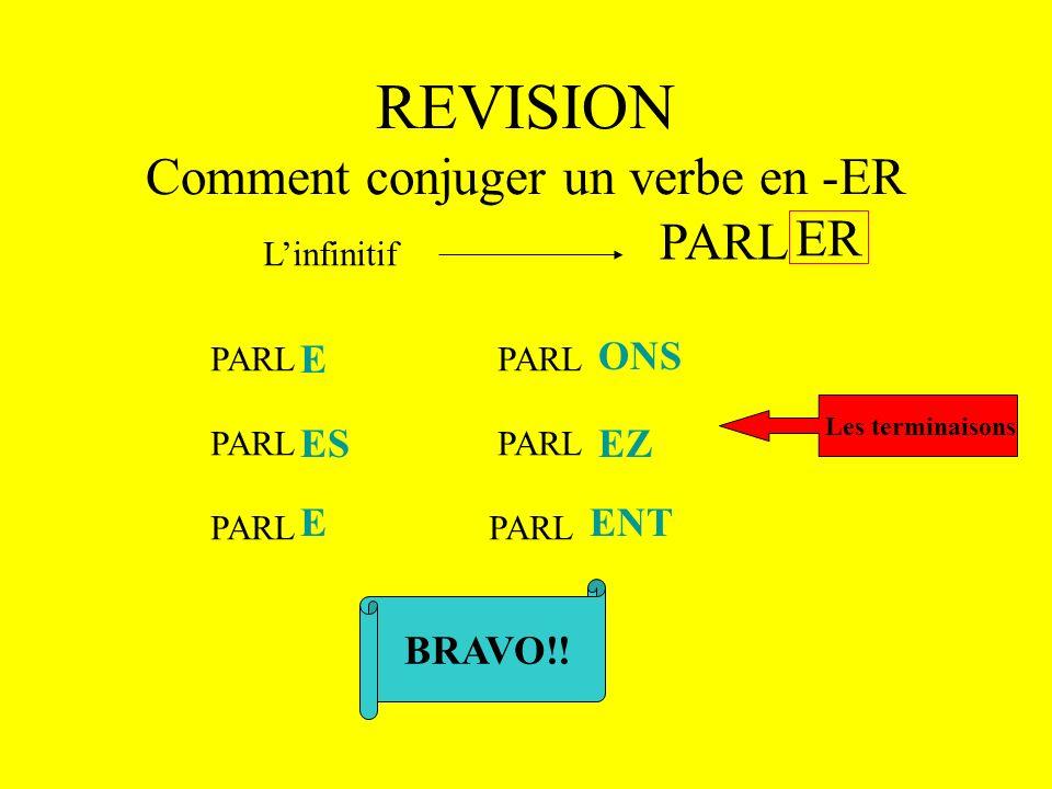 REVISION Comment conjuger un verbe en -ER