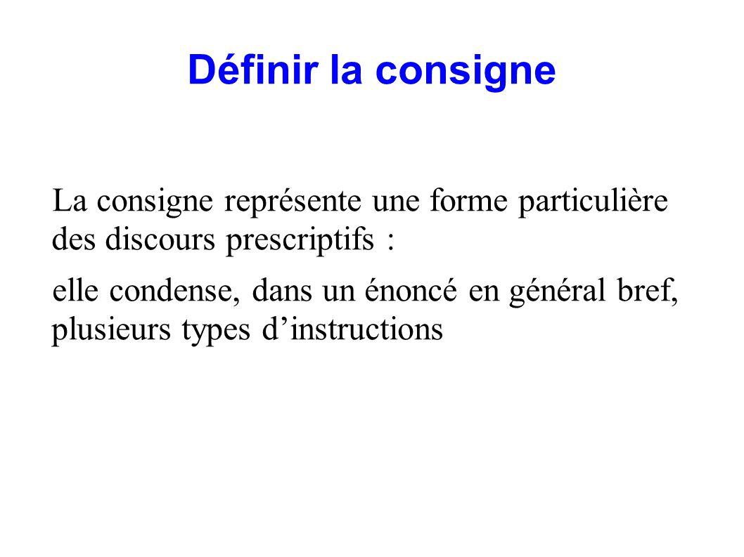 Définir la consigne La consigne représente une forme particulière des discours prescriptifs :