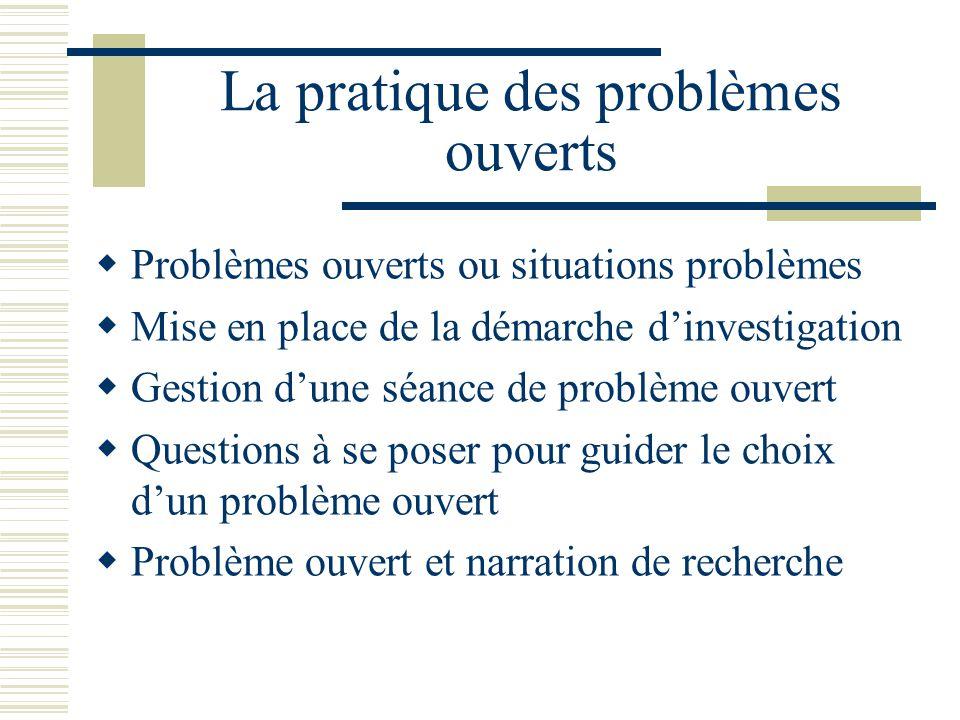 La pratique des problèmes ouverts