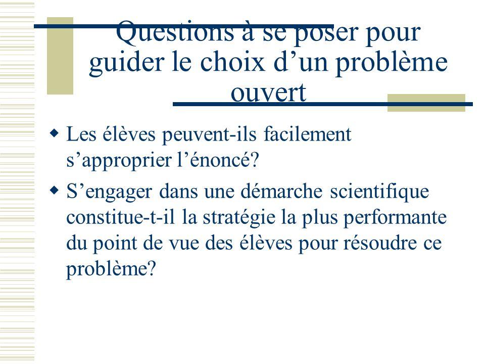 Questions à se poser pour guider le choix d'un problème ouvert