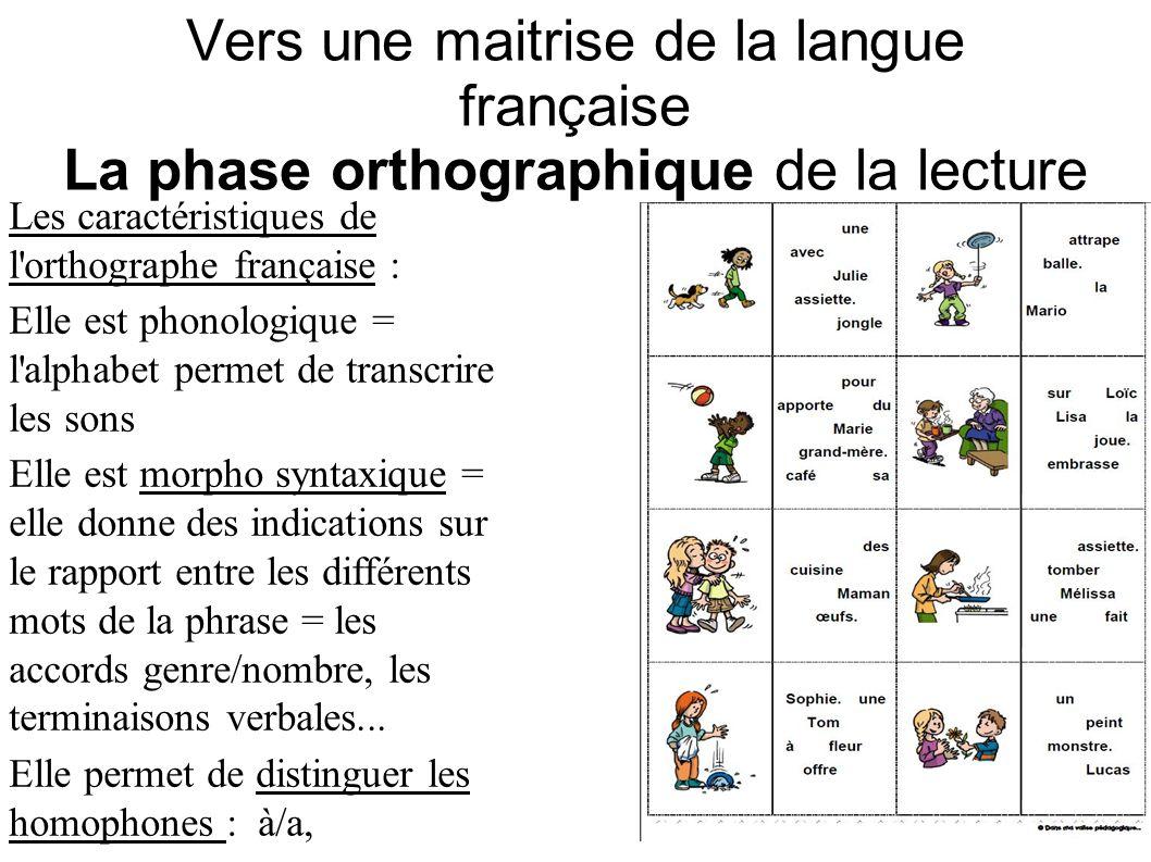 Vers une maitrise de la langue française La phase orthographique de la lecture