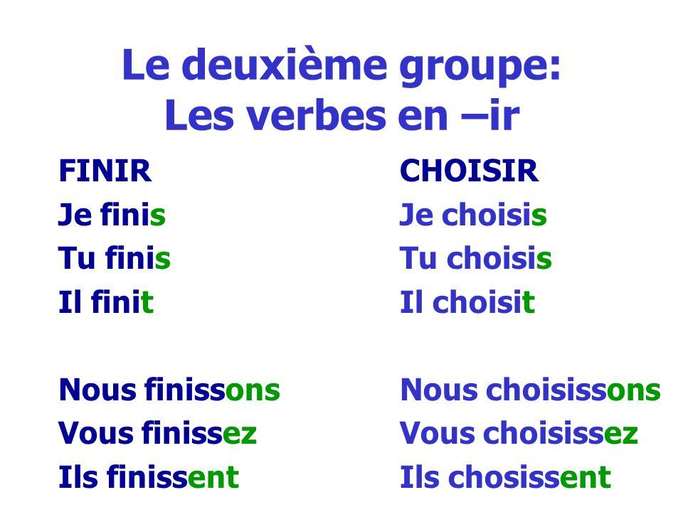 Le deuxième groupe: Les verbes en –ir