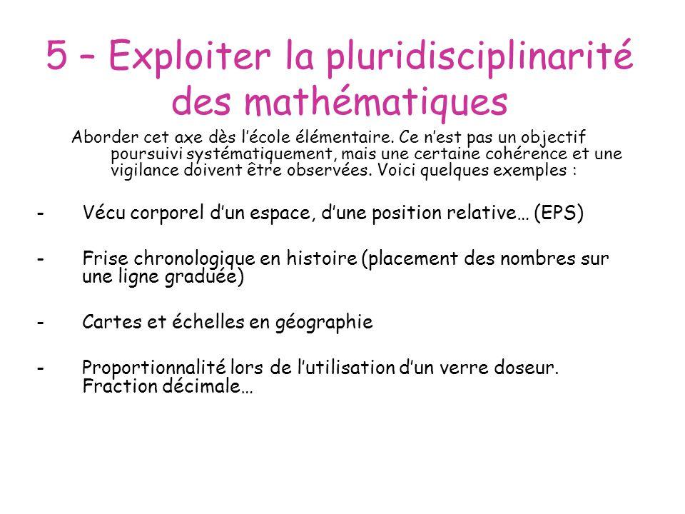 5 – Exploiter la pluridisciplinarité des mathématiques