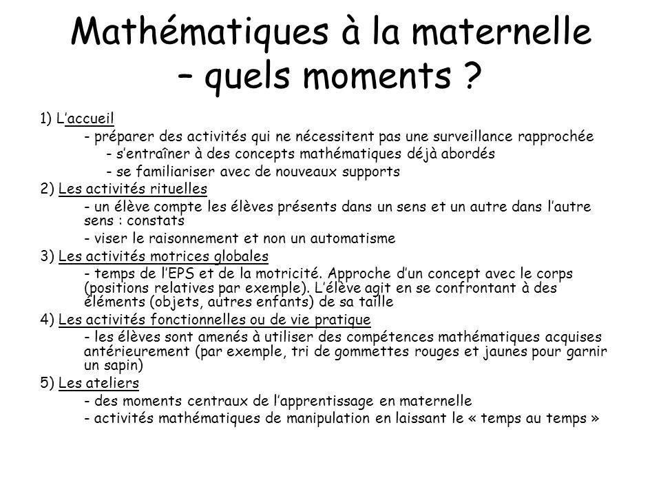 Mathématiques à la maternelle – quels moments