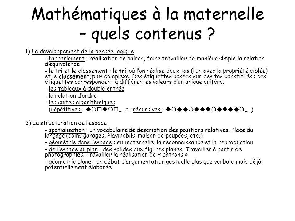 Mathématiques à la maternelle – quels contenus