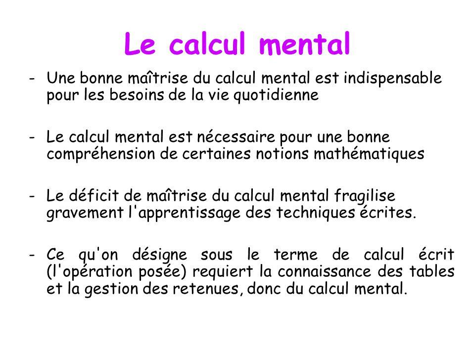 Le calcul mental Une bonne maîtrise du calcul mental est indispensable pour les besoins de la vie quotidienne.