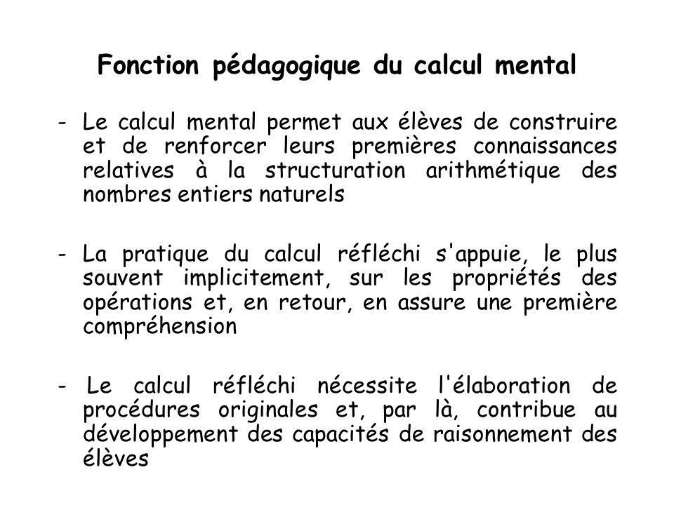 Fonction pédagogique du calcul mental