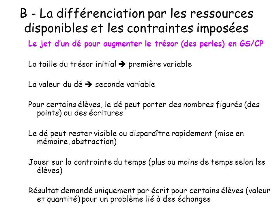 B - La différenciation par les ressources disponibles et les contraintes imposées
