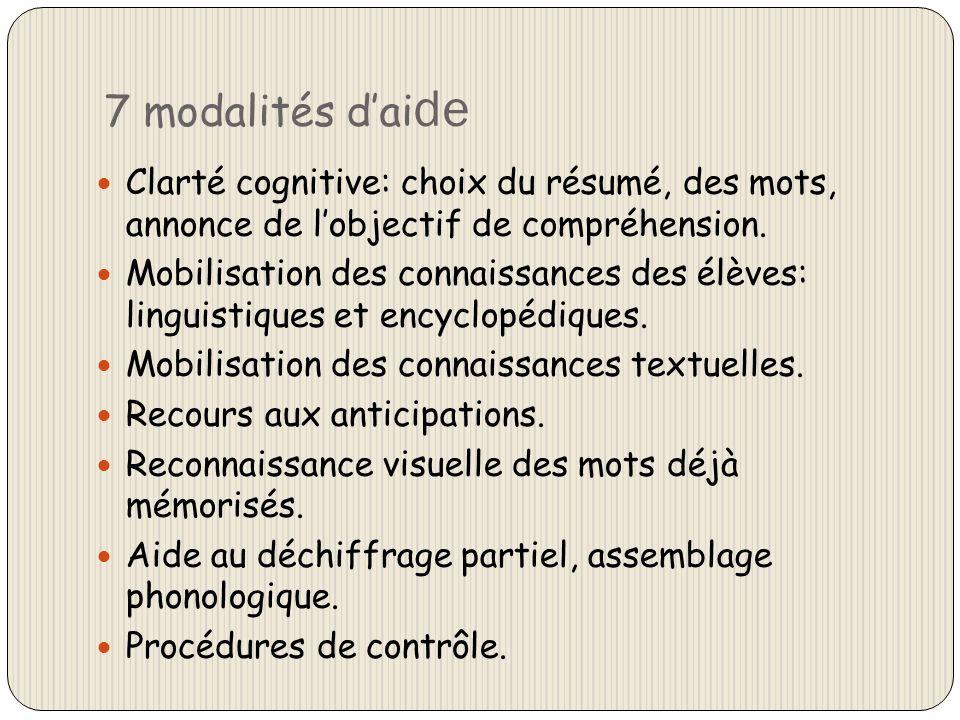 7 modalités d'aide Clarté cognitive: choix du résumé, des mots, annonce de l'objectif de compréhension.