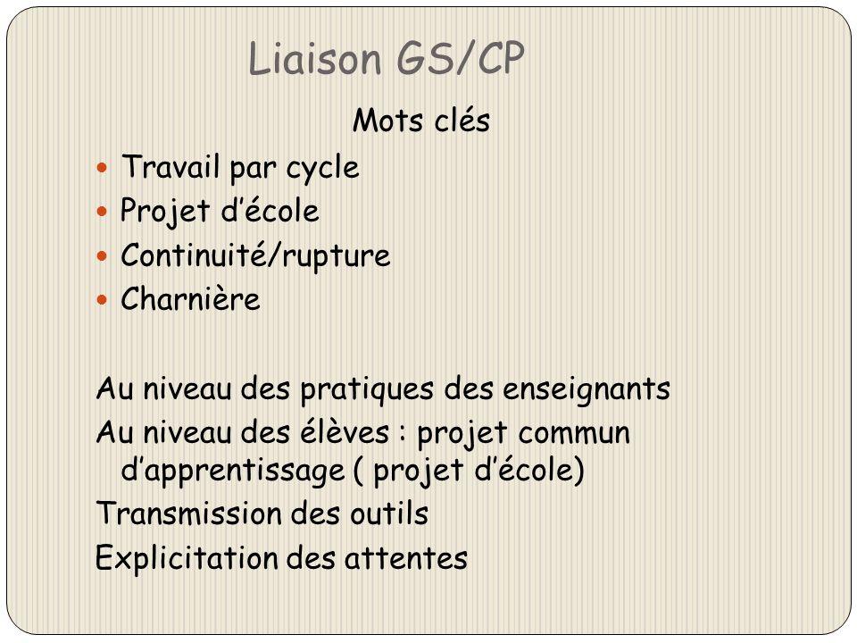 Liaison GS/CP Mots clés Travail par cycle Projet d'école