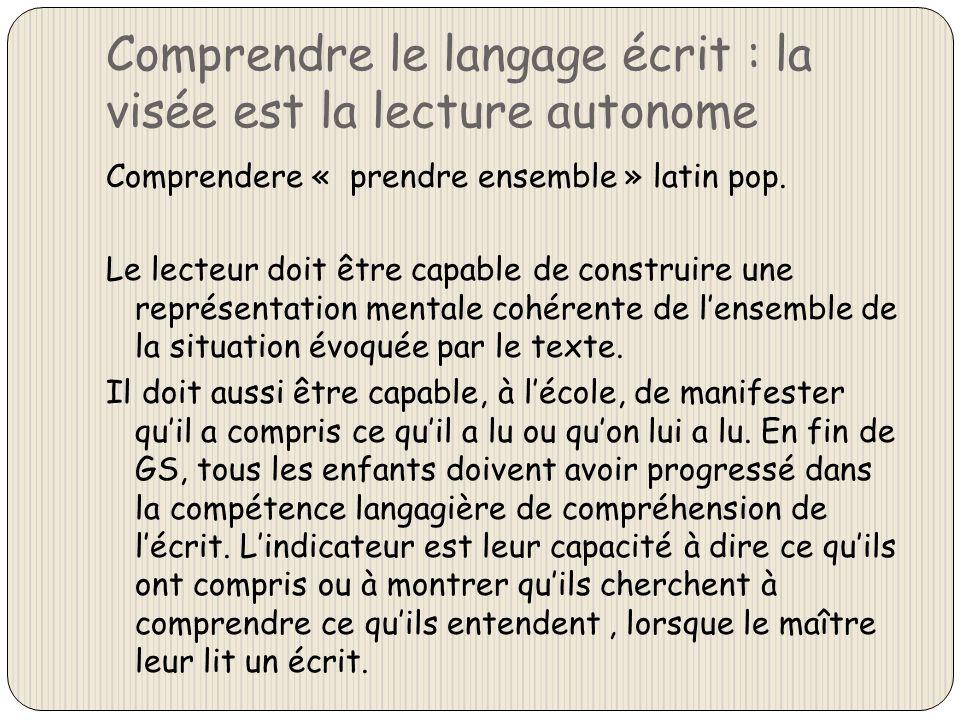 Comprendre le langage écrit : la visée est la lecture autonome