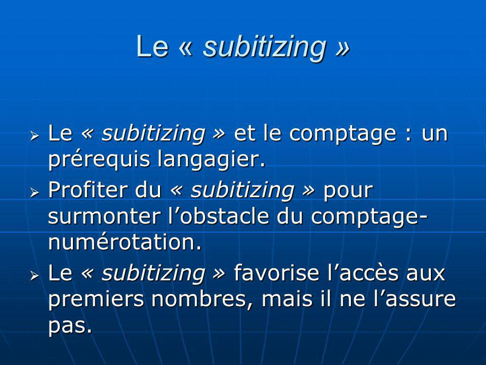 Le « subitizing » Le « subitizing » et le comptage : un prérequis langagier.