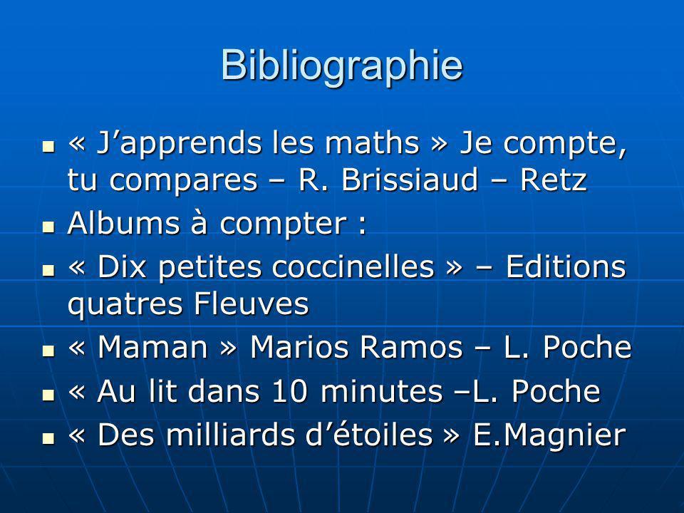Bibliographie « J'apprends les maths » Je compte, tu compares – R. Brissiaud – Retz. Albums à compter :