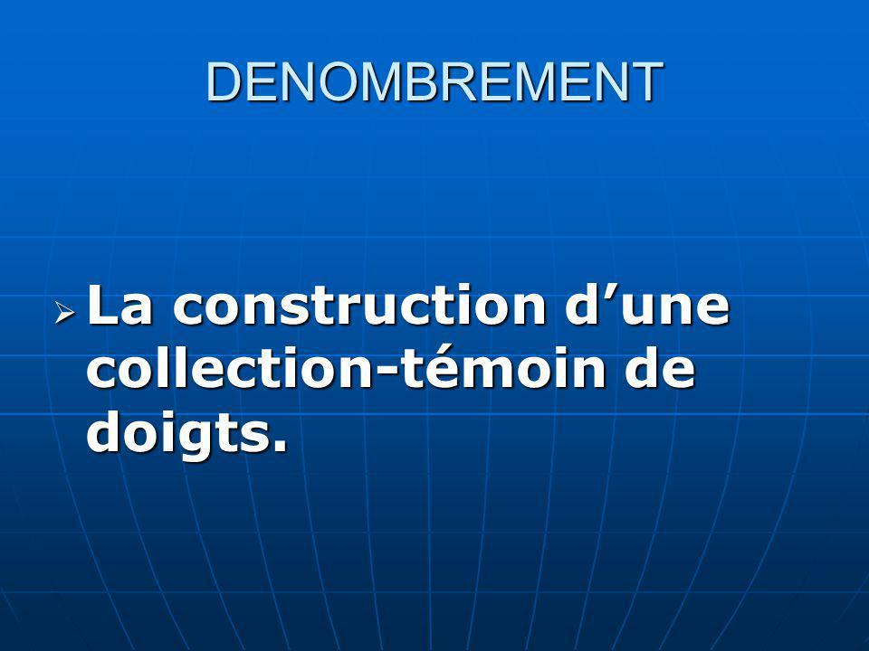 DENOMBREMENT La construction d'une collection-témoin de doigts.