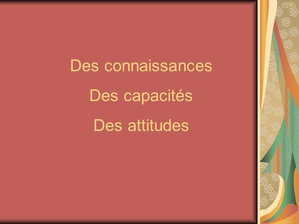 Des connaissances Des capacités Des attitudes