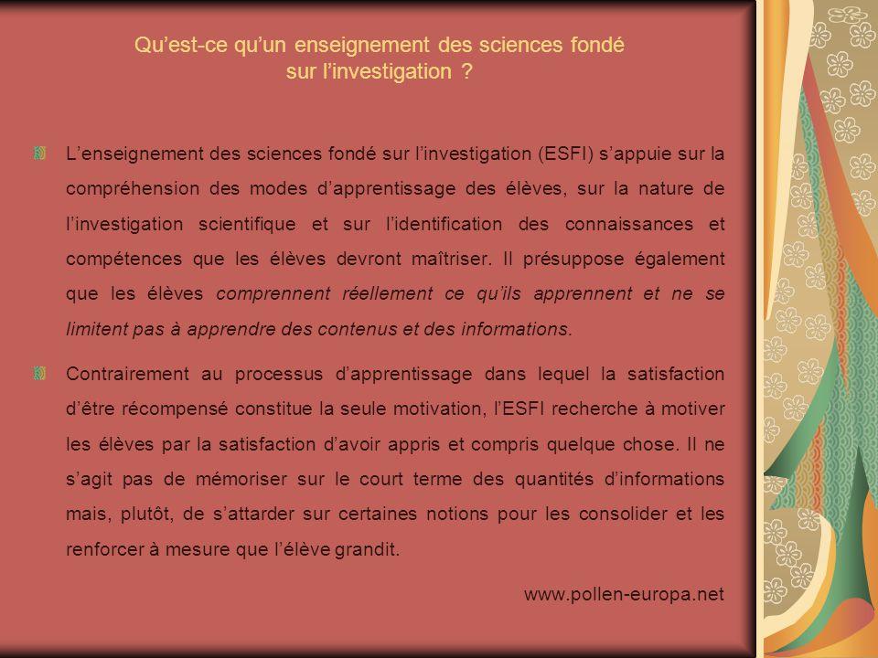 Qu'est-ce qu'un enseignement des sciences fondé sur l'investigation