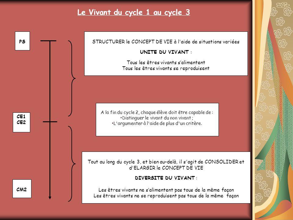 Le Vivant du cycle 1 au cycle 3