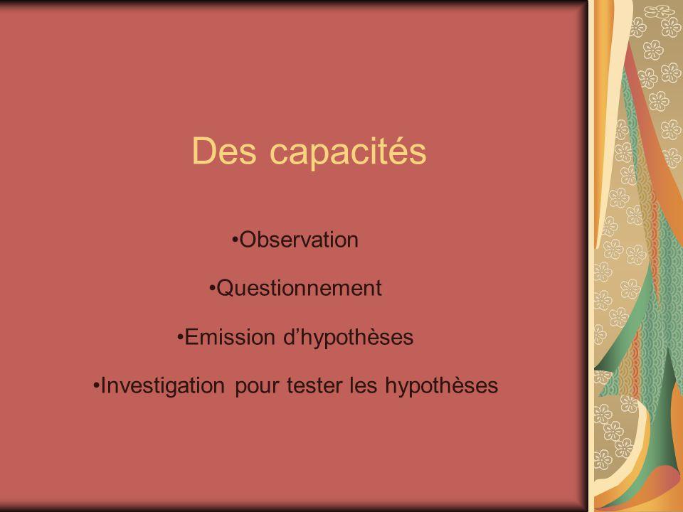Des capacités Observation Questionnement Emission d'hypothèses