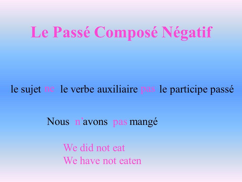Le Passé Composé Négatif