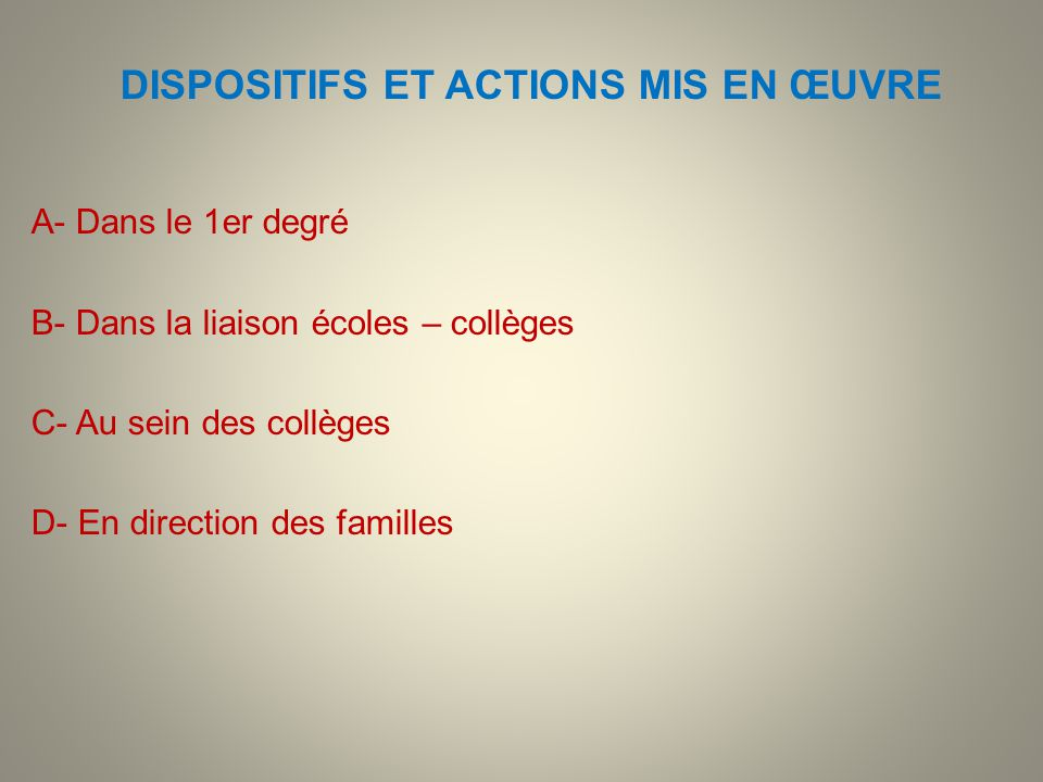 DISPOSITIFS ET ACTIONS MIS EN ŒUVRE