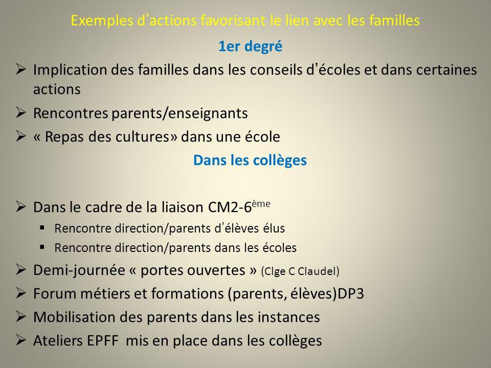 Exemples d'actions favorisant le lien avec les familles