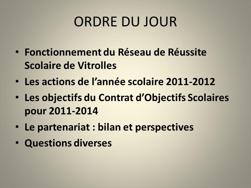 ORDRE DU JOUR Fonctionnement du Réseau de Réussite Scolaire de Vitrolles. Les actions de l'année scolaire 2011-2012.